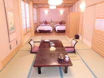 【夕霧の間】和洋室。ベッド2台+布団もご利用いただけます。計6名様まで利用可。