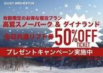 【冬季限定!高鷲スノーパーク・ダイナランドリフト50%OFF券付き】1泊2食・ディナープラン