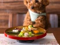 【ワンちゃん関連】ワンちゃんのお食事をご用意できます。夕食:会席2160円、朝食:朝食プレート1620円。