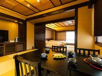 【御苑スイート】高知城を望む露天風呂付スイートは土佐御苑のお部屋の中で最上ランクの一つです。