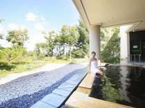 【ふるさとの湯(露天)】あてまの四季を望む露天風呂をお楽しみください。