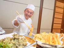 【コスモス(夕食)】アツアツの天ぷらを目の前で♪
