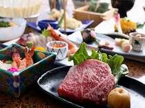 黒毛和牛ミニステーキ付プランの料理例です時期によりミニステーキ以外の内容は変わる場合があります