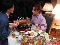 日本海の美味しい海の幸と山の幸がたくさん入った『山海鍋』みんなでつつけば美味しさ倍増!