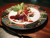【鹿肉のロティ赤ワインソース】冬だけの特別料理。是非ご賞味ください。
