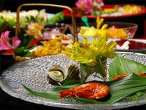 【ご夕食例】野菜・米は全て無農薬・減農薬の自家栽培♪地産地消にこだわり、見た目も華やかに・・・