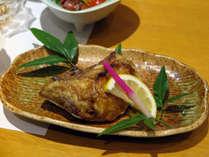 *【夕食一例】熱々の「ぶりカマ」を塩焼きで。ホクホクの食感を楽しめます。
