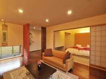 【客室】アジアンテイストの内装、客室は1つ1つ調度品が異なる/洋室(70平米しゃくなげ)