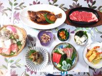 【夕食】グレードUPプランの夕食一例です、新鮮なお刺身や壱岐牛ステーキなどボリュームたっぷり!