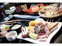 サザエやホタテなど新鮮な海・山の幸が食べ放題!*時期により蟹は入荷できない場合がございます。