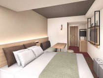 【ダブルルーム】16平米の客室に160cm幅のベッドを1台設置。(イメージ)