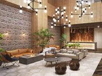 暖炉や北海道の雰囲気を演出するアートワークが施されたロビーは、モダンで洗練された雰囲気(イメージ)