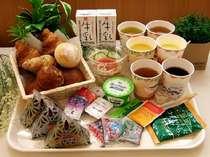 朝食は、おにぎり・パン・サラダをはじめ、ヨーグルト・コーヒーなどをご用意!(6:30~9:00)