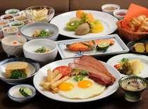 朝の選べる定食は4種類。サラダ、ナッツ、地場産納豆、ドリンクはご自由におとり頂けます。