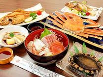 ≪アワビ堪能≫プランのお料理一例です!※11月~3月はカニの大きさが控えめになります。