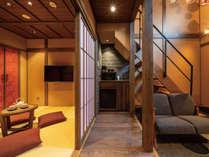かがび 1階は和室と土間が一続きで開放感のある空間です。必要でしたら障子で仕切ることが可能です。