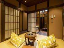 金沢「ひがし茶屋街」徒歩圏内。金沢の伝統工芸加賀水引アートが彩る町家。最大4名。檜の浴槽付き浴室。