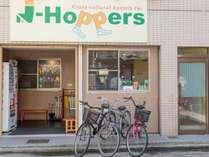 商店街に面しています。看板を目印にお越しください。レンタサイクル(1日700円)