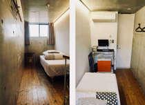 洋室シングルルーム/エアコン、テレビ、冷蔵庫を完備しております。