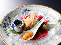 夕食一例~名物・信州特産・馬刺しのたたき~すぎもと流