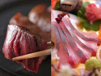 ピッチピチの新鮮地魚と滴る肉汁が堪らない厳選黒毛和牛のステーキ。満足間違いなしの人気の組み合わせ