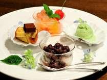デザート一例(白玉あずき・抹茶のソルベ・フルーツゼリー・ニューサマーオレンジケーキ生チョコ添え)