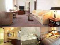 【スイートルーム】広さ58平米!リビングと寝室、ウォークインクローゼット付♪当館で一番広いお部屋です。