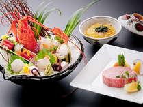 伊勢海老姿造りとメインの神戸BEEFヘレステーキ。〆は鯛茶漬けで♪