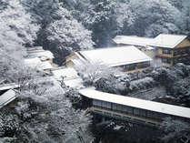 [游月山荘 冬] 雪の日の游月山荘。しんしんと降る雪の中、静かな時間が流れます。