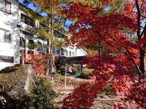紅葉で彩られる外観