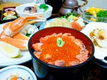 【グレードアップ★秋のよくばり御膳】舞茸・ウニ・ズワイ蟹!豪華食材と日本海の絶景を堪能/2食付