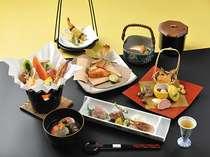 会席料理一例、メインは海鮮鍋になっておりますが、基本は信州黒毛和牛か温泉しゃぶしゃぶです。