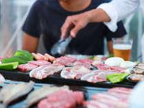 溶岩プレートBBQ☆お肉!お魚!種子島の野菜!オーシャンビューの絶景とともにお楽しみください♪