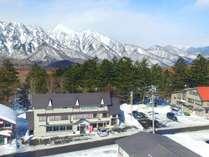 戸隠高原スキー場、めのまえの宿 高妻ロッヂ
