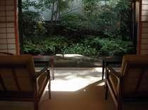 到着後、ますは池庭を眺められるロビーにご案内いたします
