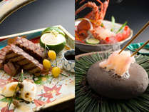 特別料理の和牛焼物八寸と伊勢海老の石焼