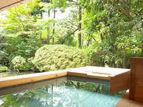 【和洋室露天風呂付 70平米】夏は緑、秋は紅葉を楽しめる庭園。