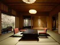 【迎賓館 花富貴】奥まったお部屋に広がる静かな空間。数奇屋造りの本間に洋間を備えた130平米のお部屋。