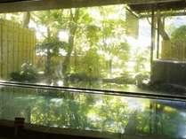 ■湯量豊かな温泉の広々とした大浴場は、大きな全面ガラスの窓から庭園を臨みます。