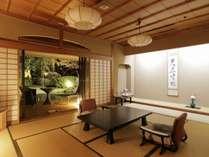 【和洋室露天風呂付70平米】2段池と山を眺めながら寛げるお部屋です。(一例)