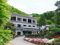 ようこそ上山旅館へ。新緑の季節です。秋には見事な紅葉に覆われます。