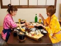 ■お部屋で【夕食】を!■人気の【夕食】がうれしい【お部屋食】!客室露天風呂も独り占め♪