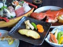 ★【金目鯛姿煮】&【地魚舟盛り】&【地魚西京漬け】三種の海の幸プラン