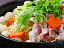 """■【お食事一例】しゃもの美味しさを存分に楽しめる""""しゃも鍋"""""""