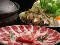 天然の猪肉とたっぷりの採れたて自家製野菜をまつや特製みそダレでどうぞ♪