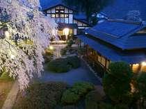 日が落ちてライトアップされると昼間とは違う雰囲気に出逢えるはず・・・。春にはしだれ桜が迎えてくれる。
