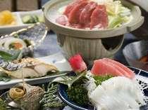 夕食 ※サザエとお米は漁師及び農家から直送(海の状況等により料理内容が変わります)
