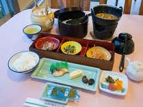 【*朝食】一例。しょうゆ豆はさぬき名物です。