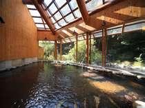 山の湯:椎葉山荘宿泊のお客様専用温泉、内風呂(秋の景観が見れる露天風呂付)