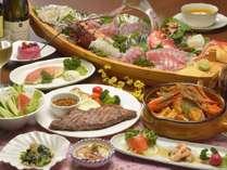 舟盛り付きのディナー。ボリューム満点。(舟盛りは特別料理)